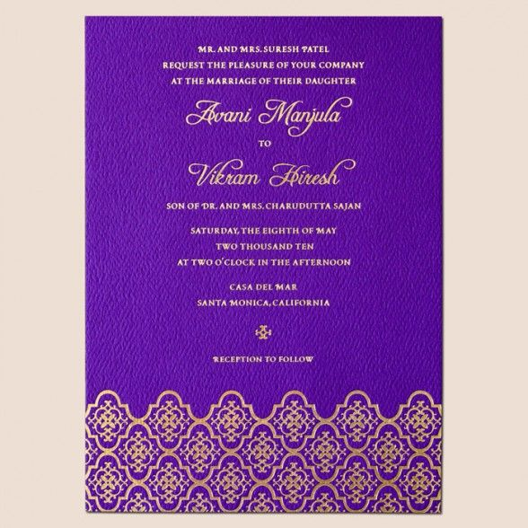 Wedding Invitations : Awesome Printing Wedding Invitations Design - Indian Themes Hindu Gold Purple Wedding Invitation Card Designs