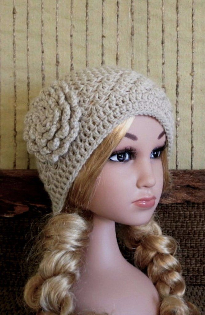 4dde194808125c Crochet Hat, CHILDRENS Hat Camel Beanie, Crochet Wool Flower, Warm Fall  Wool Winter