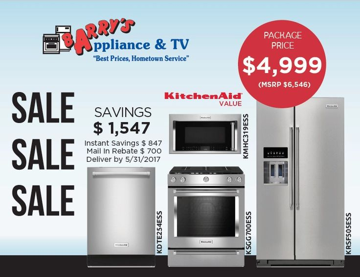 KitchenAid SALE Package Price $4,999. Savings $1,547. Mail in Rebate$700. Deliver by may 31, 2017.