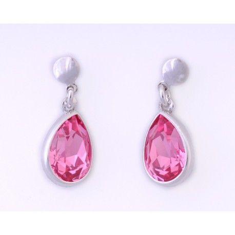 Pendientes con piedra swarovski rosa #joyas #brugine #pendientes