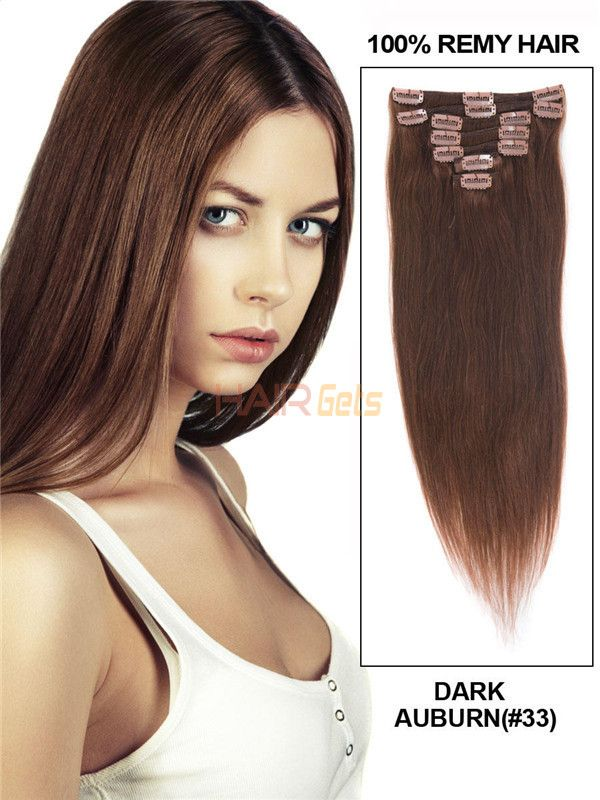 Dark Auburn 33 Ultimate Straight Clip In Remy Hair Extensions 9