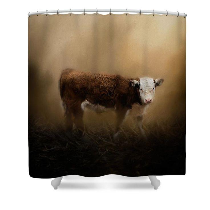 The Lone Calf Shower Curtain by Jai Johnson #rustic #farm #farmlife # ...