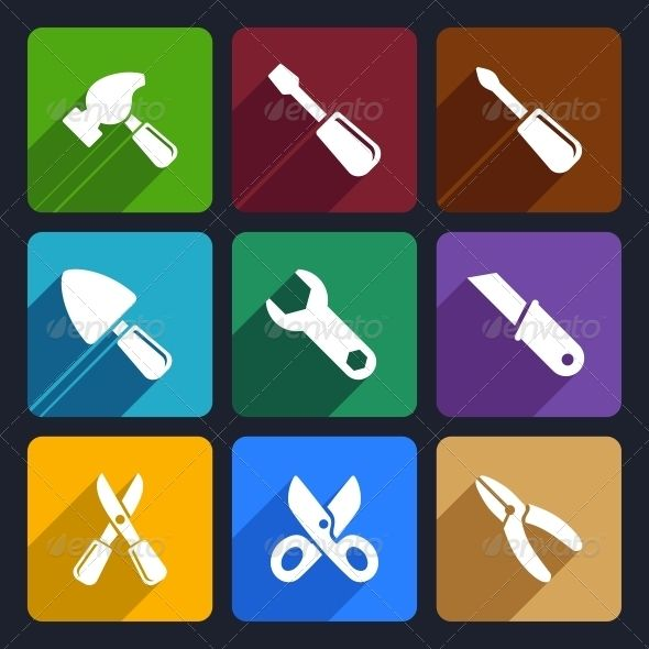 Working Tools Flat Icon Set 12 - Objects Icons