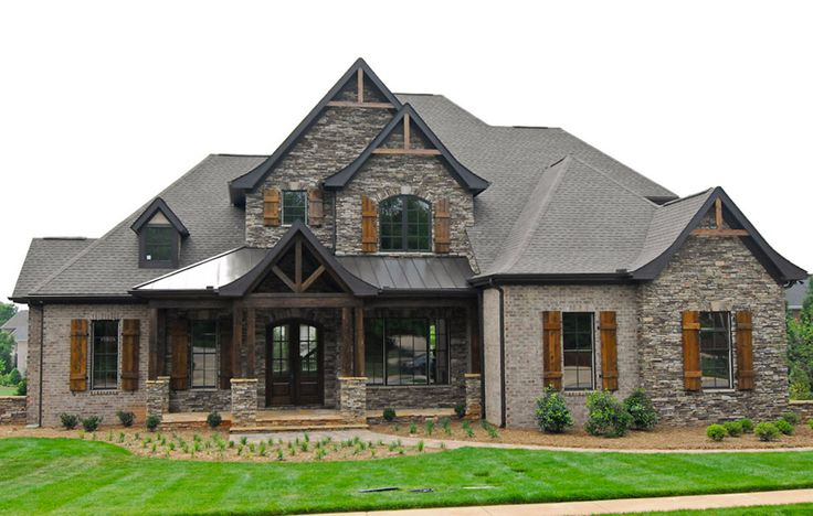Brick and rock work and columns house plans and exterior Rock home plans