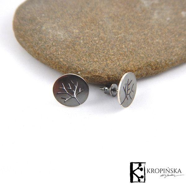 Drzewa - kolczyki okrągłe sztyfty w Kropińska Art & Jewellery na DaWanda.com