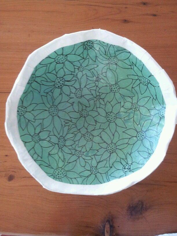 Flannel flowers bowl. Recycled oaper mache. Ivonne mace.