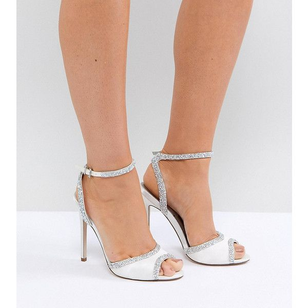 ASOS HITCHED Wide Fit Bridal Embellished Heeled Sandals (1,415 MXN) ❤ liked on Polyvore featuring shoes, sandals, cream, bride shoes, peep toe heeled sandals, ankle wrap sandals, embellished sandals and wide heel sandals