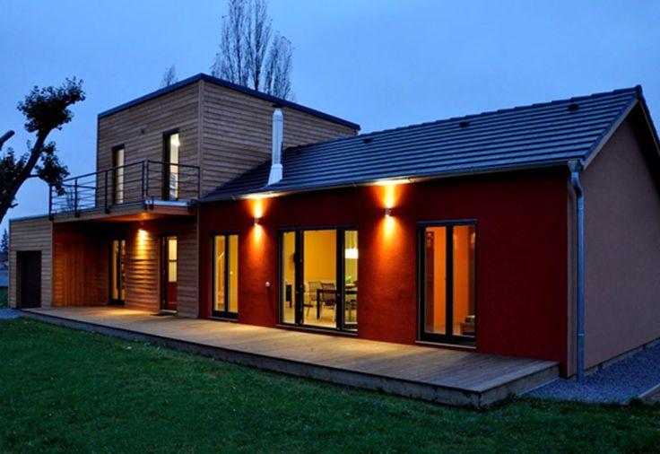 Maison ossature bois 123 m bardage m l ze et enduit wood for Bardage meleze prix m2