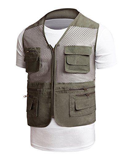 Men 39 s mesh fly fishing and photographer vest waistcoat ar for Fishing vest amazon