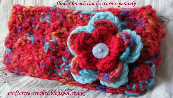 EARWARMER HEADBAND and detachable flower BROOCH, gorgeous fasion accessories teen or adult  brushed chunky