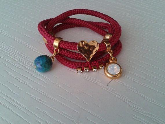 Burgundy wrap bracelet gold charm bracelet  charm by betsyarts, €15.00
