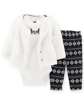 Carter's Baby Girls' 3-Piece Cardigan, Bodysuit & Leggings Set