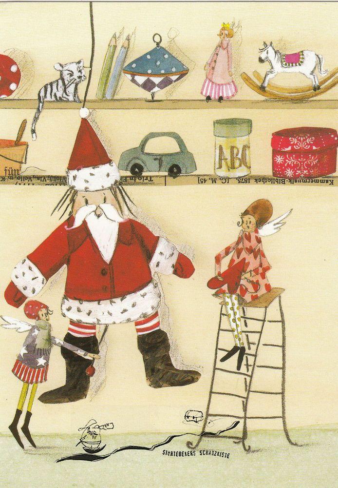 Postkarte –  Silke Leffler:  Weihnachtsmann mit Spielzeug