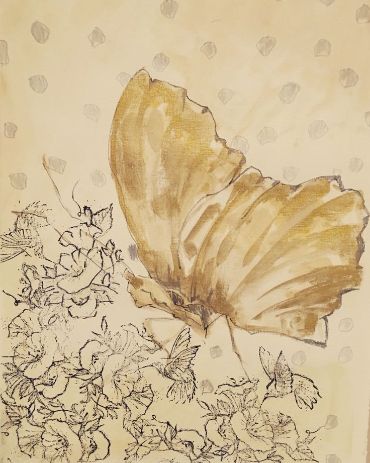 """Butterfly, mix media on paper. 12"""" x 16"""". By Eiman Muiny"""