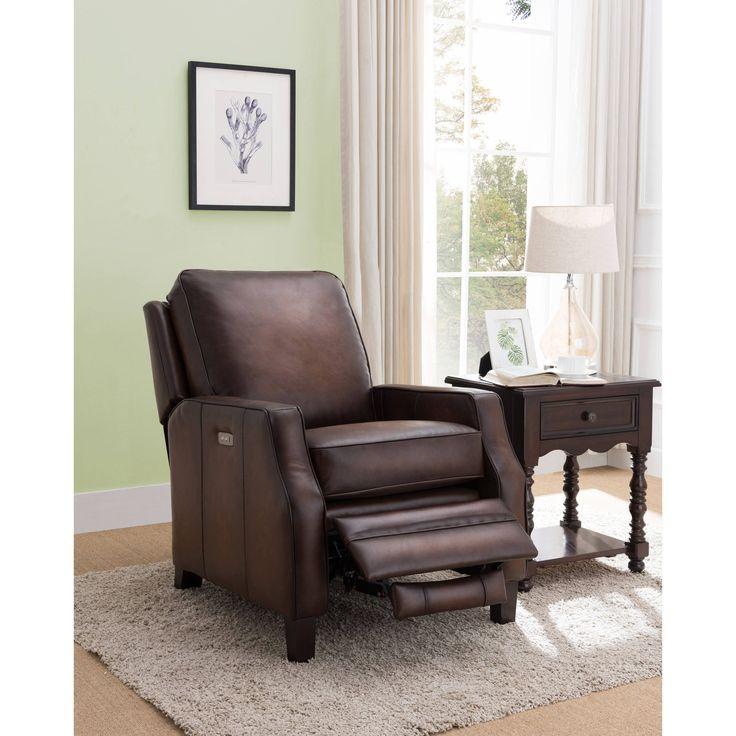 Marion Brown Premium Top Grain Leather Power Recliner Chair
