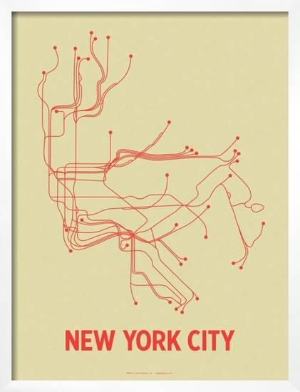 Framed New York Subway Map.New York City Cement Green Orange Posters Orange Framed Art