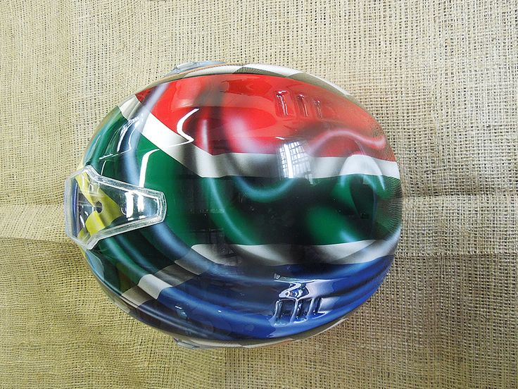 South African flag inspired custom helmet, painted by PAZ.