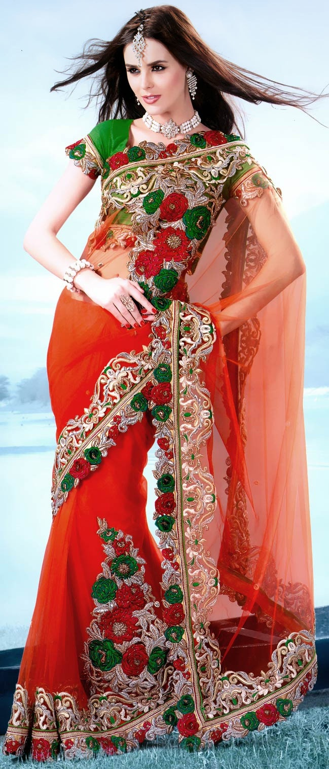 Dark Orange Net Saree With Blouse @ $194.16 | Shop @ http://www.utsavfashion.com/store/sarees-large.aspx?icode=ssx3629