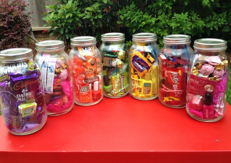 Half Gallon Mason Jars Filled With Color Coded Goodies