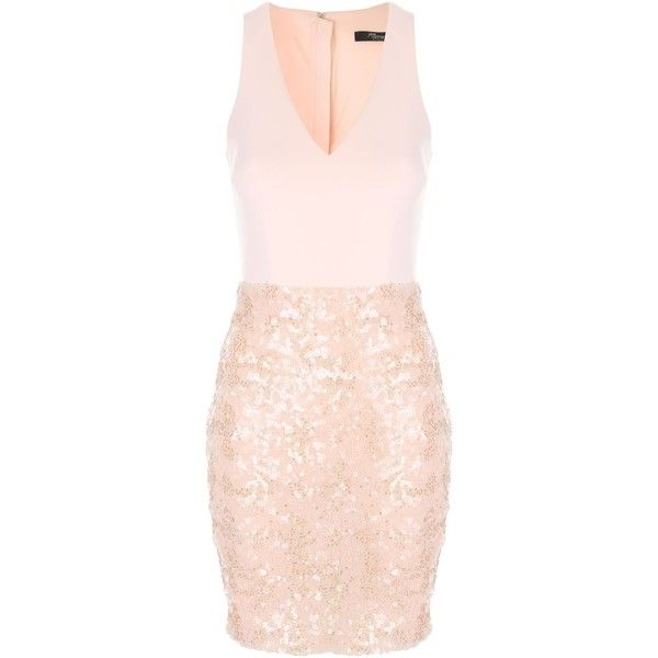 Jane Norman Sleeveless Sequin Dress ($55) ❤ liked on Polyvore featuring dresses, clearance, neutral, special occasion dresses, holiday dresses, pink cocktail dress, sequin dress and pink evening dress