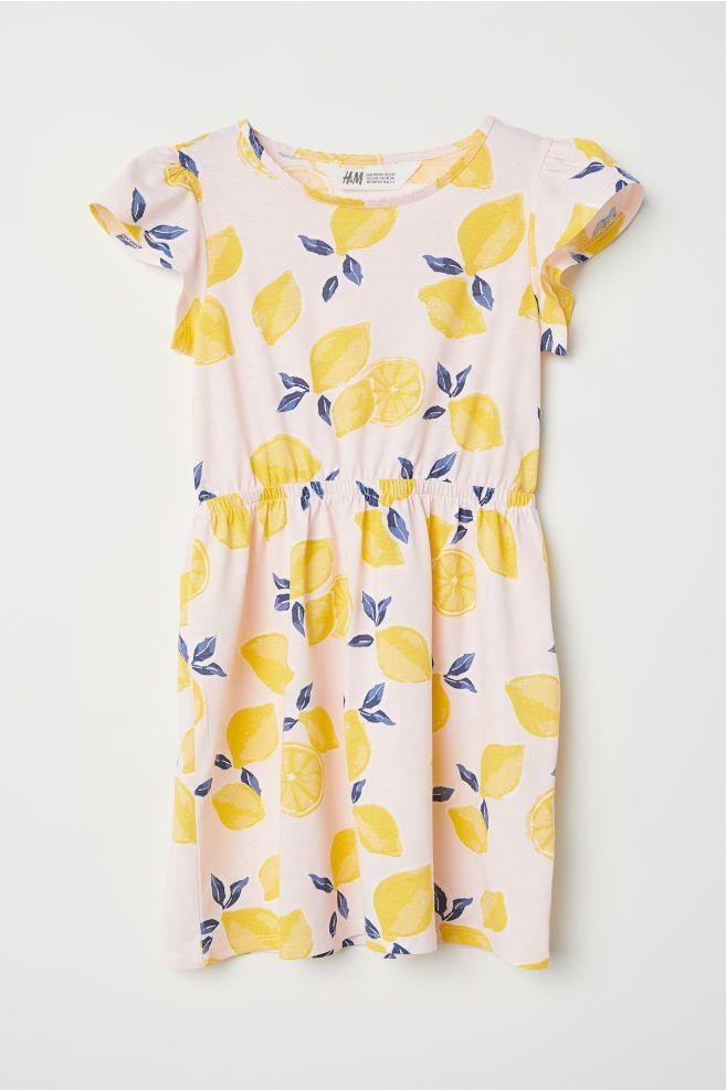 Filles h/&m Jersey de Coton Papillon Robe blanc printemps été
