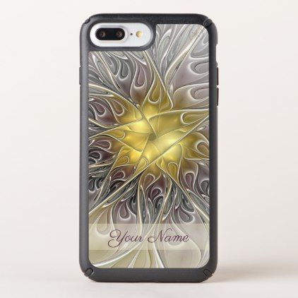 #Flourish Gold Modern Abstract Fractal Flower Name Speck iPhone Case - #flower gifts floral flowers diy