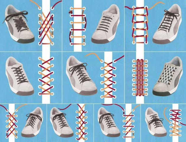 Different ways to tie your shoelaces - Very Resourceful