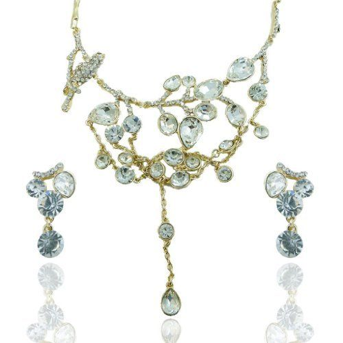 """Ever Faith Hummingbird Clear Austrian Crystal Necklace Earring Set Drop Tassel Ever Faith. $24.95. chain size 16.54""""-19.09"""" pendant size 4.72"""" by 4.72"""" earring size 1.26"""" by 0.59"""". This one is a unique jewelry, it will fit for the brides and bridesmaid perfect.. This stunning set will make you a bright scenery at any occasion."""