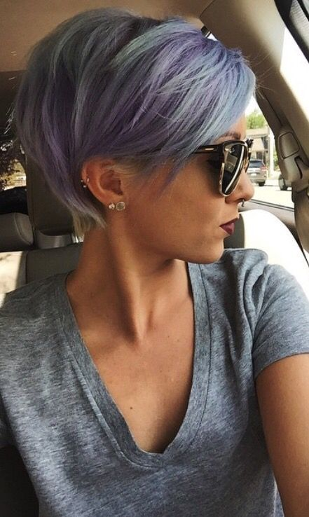 pixie cut, grey purple , hair goals, ear piercings