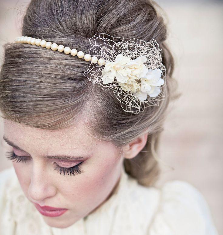 vintage romance pearl headband, wedding tiara. $58.00, via Etsy.