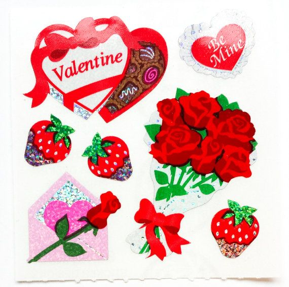 you will receive 1 module of vintage sandylions sticker condition new the module measures 5 x cm - Valentines Day Stickers