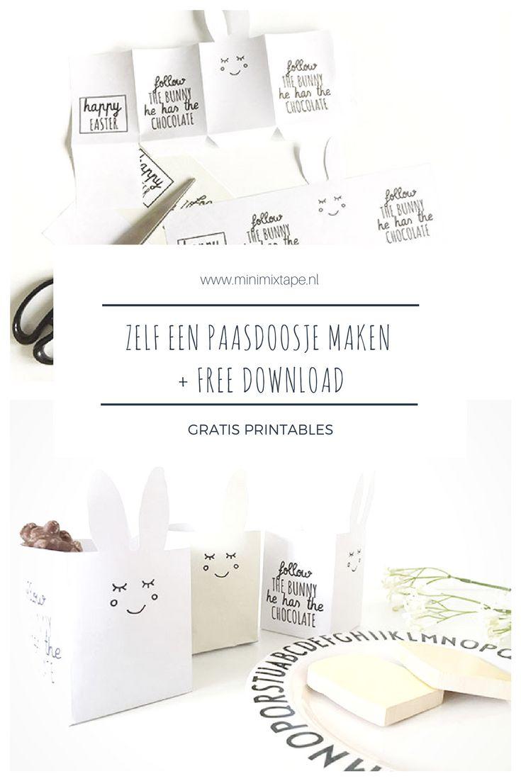 Zelf een paasdoosje maken - gratis Pasen printable voor een simpele paas diy