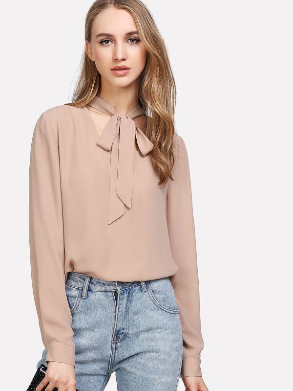 Shop Tie Neck High Low Top online. SheIn offers Tie Neck High Low Top & more to fit your fashionable needs.