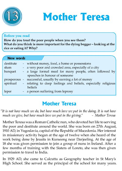 Essay on Mother Teresa & Her Community Service