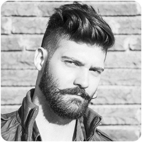 #2 Sides, Undercut to Swept Back Pompadour. [#3 Beard with separated Handle-Bar Mustache]