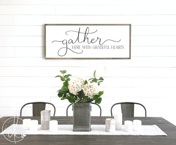 Gather Here With Grateful Hearts Sign Gather Sign Dining Etsy Gather Sign Dining Room Dining Room Wall Decor Fall Wall Decor