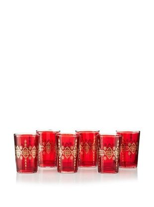 65% OFF Found Objects Set of 6 Souad Moroccan Glasses (Red)