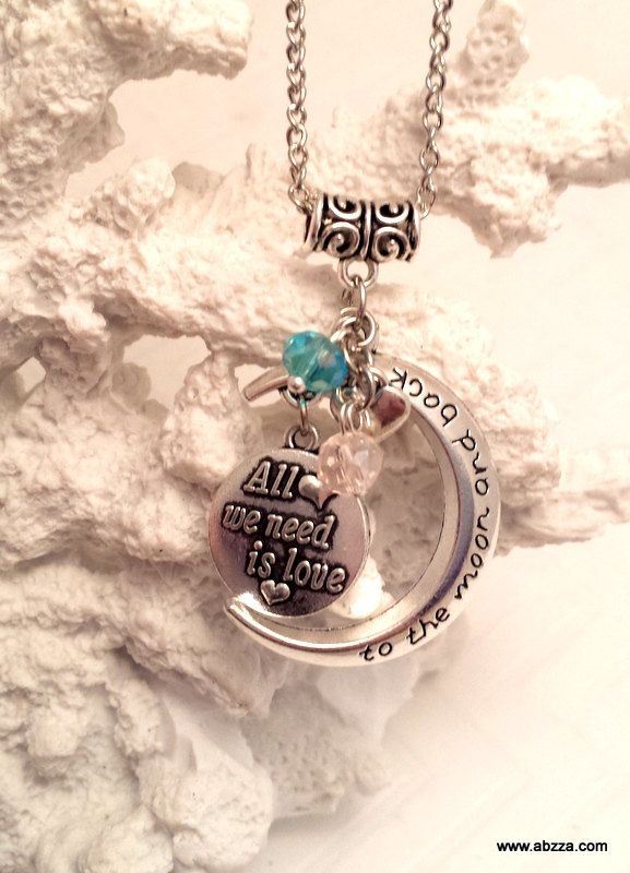 To the Moon & back -Antiqued style engraved Necklace by abzzadesigns on Etsy