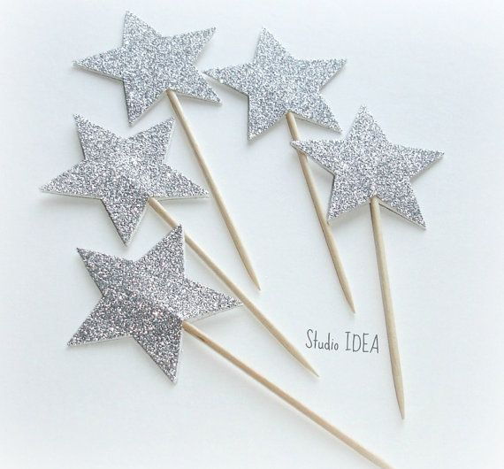 12 Glitter Silver Star double-sided  Cupcake Toppers by StudioIdea