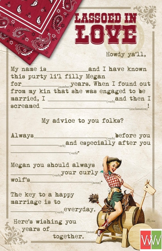 Wedding Guest Book Alternative Mad Lib Cards - Cowboy Theme Bridal Shower Mad…