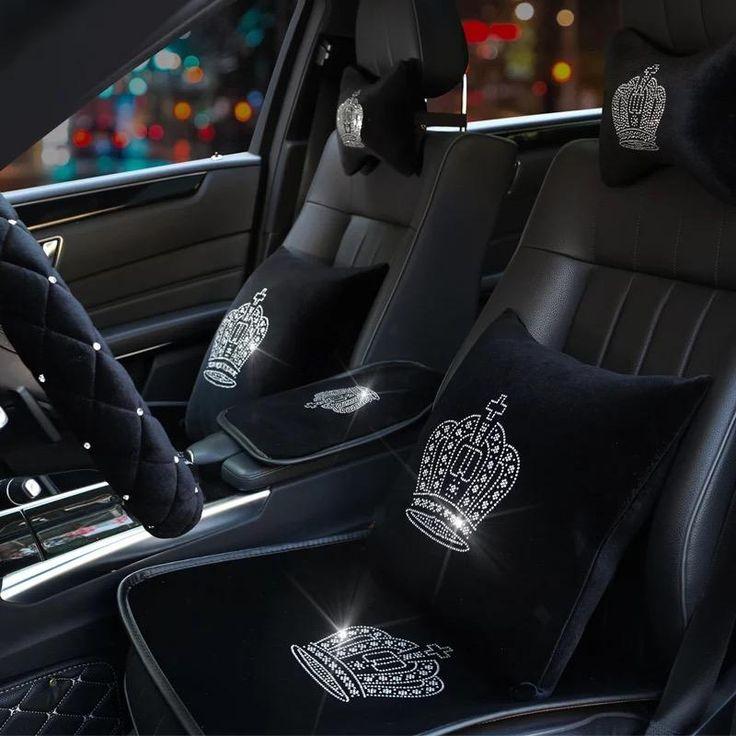 Black Velvet Car Seat cover with bling Crown For Winter