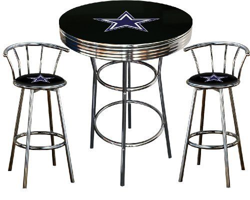 Dallas Cowboys Logo Themed 3 Piece Chrome Metal Finish Bar Table Set with 2 Swivel Seat Cowboys Logo Themed Bar Stools by The Furniture Cove, http://www.amazon.com/dp/B00B6EL6OS/ref=cm_sw_r_pi_dp_2KjZrb03BN6EK