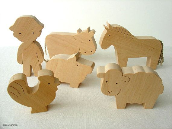 Farm Animal Set - Waldorf wooden toys - Farm animals and boy