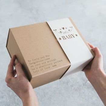'hello baby' personalised gift box by fora creative | notonthehighstreet.com