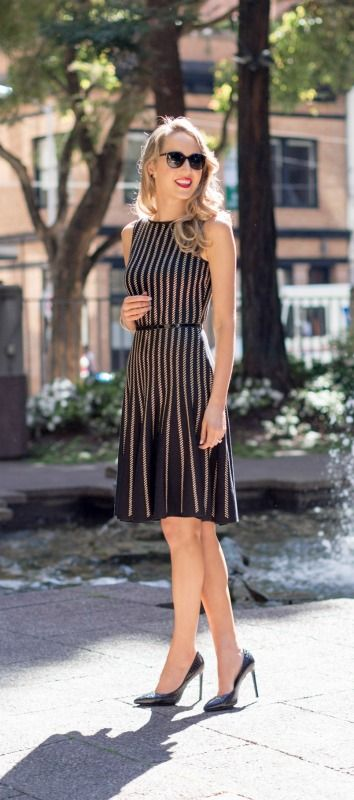 One of my absolute favorites for spring is this uber-flatter black knit sleeveless fit and flare dress with gold cord stripes.