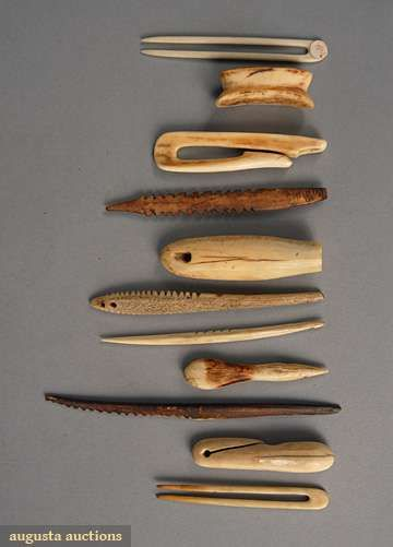 Inuit bone and carved walrus ivory:  clips and serrated objects.