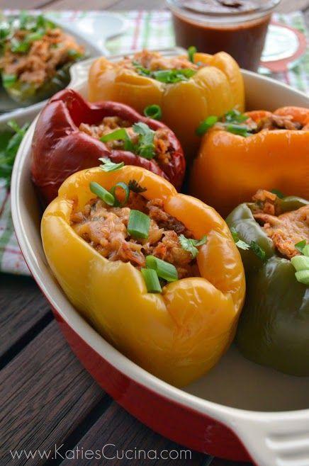 Slow Cooker Chicken Enchilada Stuffed Peppers