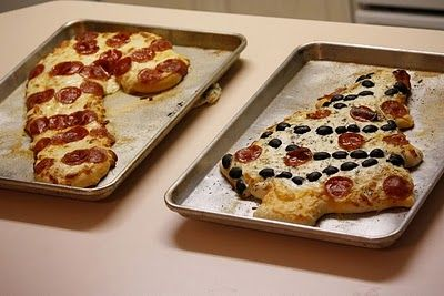 candy cane and christmas tree pizza.  Ugly Christmas Sweater party food - perfect! need a tacky sweater? http://www.myuglychristmassweater.com