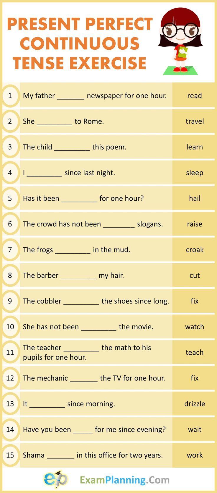 Present Perfect Continuous Tense Exercises Tenses Exercises Present Perfect English Grammar Exercises