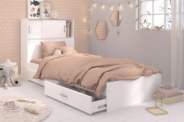 Lit Blanc Avec Rangements Snoop 90x190 Ou 90x200 Cm Lit Blanc Decoration Maison Inspiration Chambre Enfant